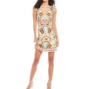 Gianni Bini Ariana geometric beaded sheath dress
